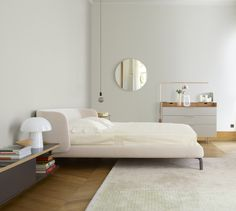 Buy Ligne Roset Desdemone Bed from our exclusive range of modern furniture and lighting at Chaplins. Showcasing the very best in contemporary design. Ligne Roset, Cream Bedrooms, Pink Bedrooms, Bedroom Green, Bedroom Decor, Bedroom Ideas, Echo Bedding, Leather Headboard, Grey Furniture