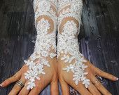 White Shiny Beaded Long Lace Wedding Gloves, Free Shipping, French Lace Long Gloves, Spectacular Bridal Wedding