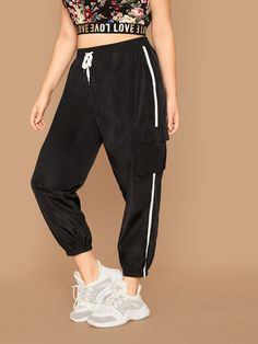 Plus Tape Side Flap Pocket Patched Wind Pants Plus Size Pants, Parachute Pants, Harem Pants, Sweatpants, Sporty, Fabric, Tape, Pocket, Clothes