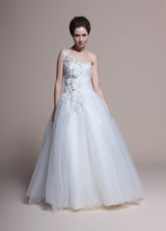 Hand Made Flower And Lace Create One Shoulder Full A-Line Floor length Wedding Dress  A-line/Princess, Floor Length, Natural, One Shoulder, Sleeveless, Lace-Up, Tulle, Garden/Outdoor, Spring, Summer, Fall,