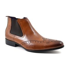 Find chestnut brown brogue chelsea boots for men. Lovely leather, simple but characterful. Lots of choice at fair prices. No quibble returns. Brogue Chelsea Boots, Brown Brogues, Purple Leather, Free Delivery, Dark Brown, Simple, How To Wear, Shoes, Black