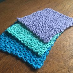"Crochet Dishcloths, Set of 3, Choose Your Colors in ""Notes to Seller"" by ShadyAcresCreations on Etsy https://www.etsy.com/listing/590544066/crochet-dishcloths-set-of-3-choose-your"