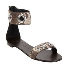 Giuseppe Zanotti Snakeskin-stamped Ankle Band Sandal Sale up to 70% off at Barneyswarehouse.com