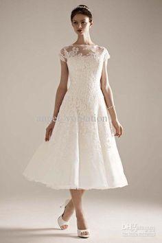 Bateau Neck Lace Sequin Beaded Tea Length A Line Wedding Dress