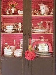 Painted  inside of cupboard
