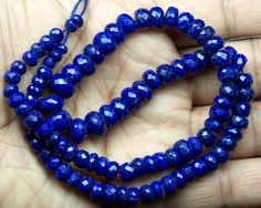 "Amazing 214Cts 100 % Natural Royal Blue Afgan Lapis Lazulii Micro Faceted Beads String 5 mm to 10 mm Size 17 "" Long : Graduating Style AAA"