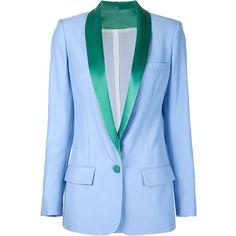 Racil Miami Satin Tuxedo - Blue (67.225 RUB) ❤ liked on Polyvore featuring outerwear, jackets, blazers, all tops, kirna zabete, tops, blazer jacket, blue blazer, blue shawl collar tuxedo and blue tux jacket