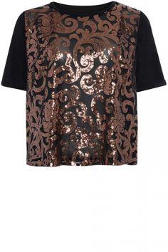 Primark Bronze Sequin Front Tee, £10