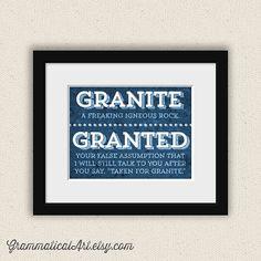 English Grammar Print Granite vs. Granted Taken by GrammaticalArt, $16.20