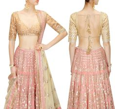 44 Types of Saree Blouses Front & Back Neck Designs - LooksGud. Back Neck Designs, Blouse Neck Designs, Blouse Styles, Golden Blouse Designs, Sari Bluse, Frock Fashion, Fashion Sewing, Fasion, Latest Saree Blouse