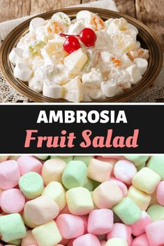 Ambrosia fruit salad is super easy to make and always a hit at family gatherings. Thambrosia fruit saladis creamy delight contains crushed pineapple, mandarin oranges, whipped topping, marshmallows, and shredded coconut. Easy Desserts, Delicious Desserts, Dessert Recipes, Yummy Food, Creative Desserts, Health Desserts, Yummy Recipes, Fruit Salad Recipes, Fruit Salads