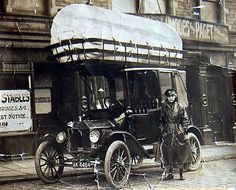 A 1920s coal-gas powered taxicab operated by John Lee Automobile Engineers in Keighley, England. The bag atop the vehicle stored sufficient fuel for 15 miles of driving.