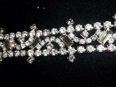 Vintage+Rhinestone+Bracelet+Clear+&+Smoky+Gray+Multi+Cut+Prong+Set+Stones+1+1/4w