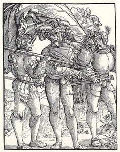 Artist: Schäufelein, Hans Leonhard, Title: Fähnrich zwischen zwei Landsknechten, Date: ca. 1515