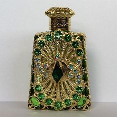 Czech Handmade Green Rhinestones Glass Perfume Bottle | eBay