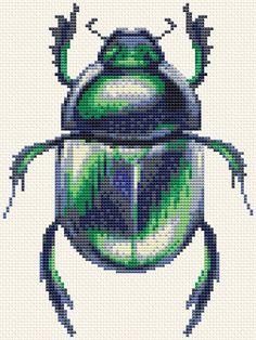 Beetle Cross stitch pattern Modern cross stitch Insect cross stitch Nature embroidery PDF