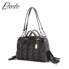 7a2dbdf1c0b3 Etersto Brand 2017 New Women Tassel decoration Leather Pu Handbags Female  Big Bags Luxury Ladies Casual Top-Handle Big Bags