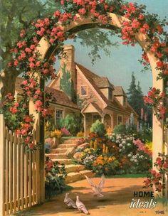 beautiful cottage illustration - ideas for planning a miniature cottage garden. Images Vintage, Vintage Art, Vintage Postcards, Pintura Colonial, Grafic Design, Belle Image Nature, Storybook Cottage, Beautiful Paintings, Garden Art