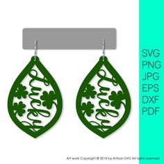 St. Patrick's Day Diy, Diy Earrings, Leather Earrings, Wooden Jewelry, Diy Jewelry, Jewelry Ideas, Jewelry Making, Trotec Laser, St. Patricks Day