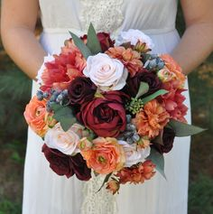 DIY bridal bouquets for a fall wedding.  Follow this How To at Afloral.com, designed by Holly's Wedding Flowers.