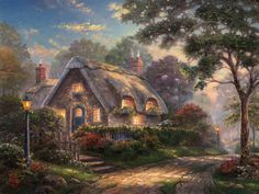 Thomas Kinkade - Cottage - Lovelight Cottage