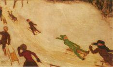 Children Sleidging - Franz Stuck