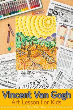 Re-create Van Gogh Olive Trees with elementary art students using an egaging roll-a-dice game. Art Games For Kids, Art Lessons For Kids, Art Lessons Elementary, Art Sub Plans, Art Lesson Plans, Middle School Art, Art School, School Ideas, Van Gogh For Kids