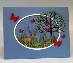 Peaceful Meadow- using memory box dies, martha punches and spellbinders ovals