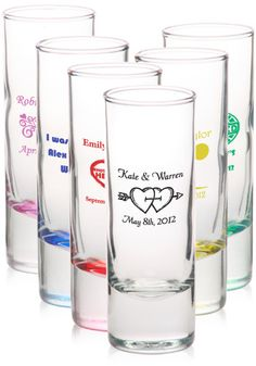 Personalized Shot Glass Wedding Favors.   SO US NICE :)