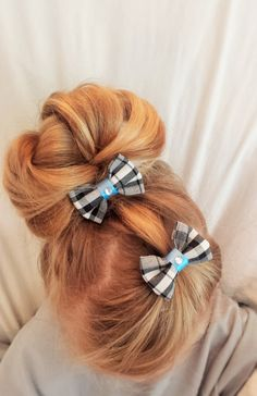 Mini Hair Bow Clips in Plaid  Set of two by TeensyThings on Etsy, $3.00