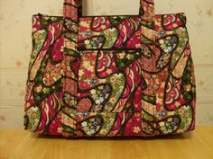 Red Black Green Tan Floral Print Quilted Purse by RoxannasBags, $40.00