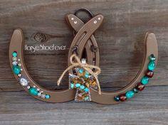 Double Welded Horseshoe ©  Western Home Decor. Welded Art. Decorative Horseshoe. ©  Cross, Swarovski, Wall Art, Shabby Chic, Horseshoe Art, Cowgirl, Country, Western, Ranch, Cabin, Glam, Equine, Horse Decor, Red, HorseShoeFever & Western Craft Line on Etsy.