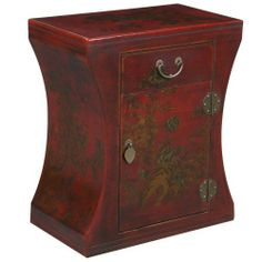 EXP Handmade Oriental Furniture 24-Inch Antique Style Red Leather Hourglass End Table by EXP. $282.95. Hinges and drawer pulls in aged iron finish this piece with a touch of panache. Drawer and door reveal storage ideal for tucking away sundry items. 24 in. h x 20 in. w x 12 in. l. Bedecked with traditional hand-painted chinese depictions of flora & fauna rich with symbolism. Features a durable wooden frame covered by a thin layer of red leather. Inspired by antique Chinese...