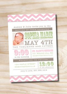 MODERN CHEVRON Photo Baptism Christening Invitation - You Print on Etsy, $16.00