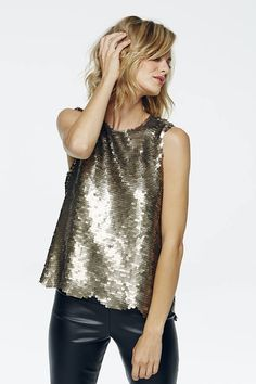 Paper Crown Gold Sequins Scalloped Top
