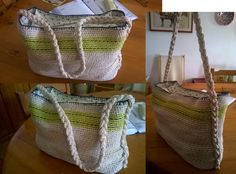 Handmade crocket bag with rope and cotton