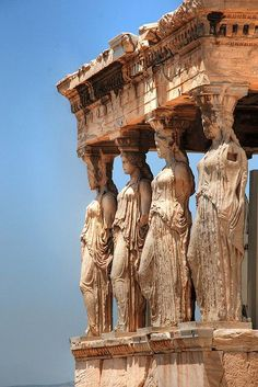 The most celebrated example is the Caryatid Porch - of the Erechtheum w six figures - 415 bc) on the Acopolis in Athens, Greece // Things to Do in Greece, Cheap Things to Do in Greece, Greece Travel Guide Ancient Ruins, Ancient Greece, Ancient History, Art History, Athens History, Ancient Greek Art, European History, Egyptian Art, Ancient Artifacts