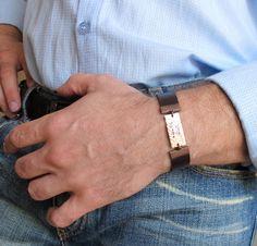Jewish Bracelet for Men - Shema Israel hand stamped Bracelet. Leather Mens Cuff Bracelet - Personalized Bracelet