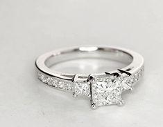 Trio Princess Cut Pavé Diamond Engagement Ring #princesscutengagementring #princesscutring