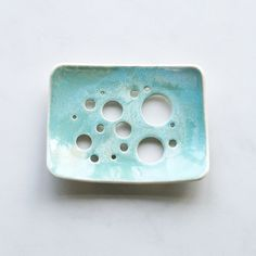 Aqua glaze bubble holes soap dish by VanillaKiln