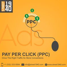 Pay per click (PPC) is a technique of advertising your product or services on Google to generate more clicks on your website using relevant keywords. We at Street1940 help you to pay the right amount to publish ads and gain traffic to your website. Web Design Services, Gain, Advertising, Website, Business, Google, Store, Business Illustration