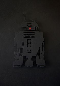 R2D2 3D handcut paper-craft