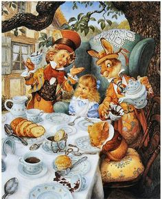 'Take some more tea' the March Hare said to Alice, very earnestly.This attractive and detailed picture of the Hatter's MAD Tea Party from Alice in Wonderland has the characters by the table. Lewis Carroll, Alice Tea Party, Mad Tea Parties, Chesire Cat, Earth Design, Fairytale Art, Adventures In Wonderland, Wonderland Alice, Mad Hatter Tea