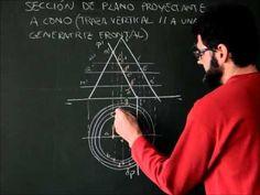 Sistema diédrico, superficies radiadas, sección de cono con plano proyectante al plano vertical - YouTube