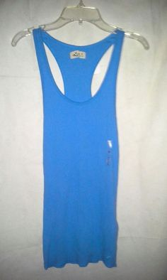NEW! HOLLISTER Tank Wifebeater Ribbed Top Sz M  Ice Blue Turquoise #Hollister #Tank