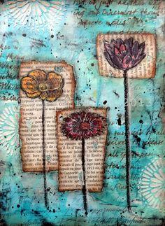 "Mixed media - ""Emily's Garden"" - flowers"
