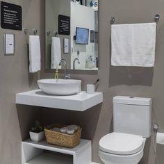 Decoração de banheiro simples e barata - veja dicas Best Bathroom Vanities, Bathroom Wall, Small Bathroom, Striped Hallway, Ikea Sinks, Tiny Spaces, Bathroom Interior Design, Decoration, Sweet Home