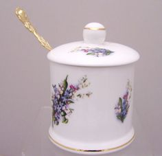 Forget Me Not English Bone China Jam Jar