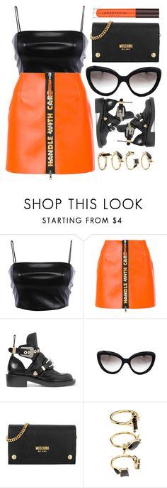 """Moschino"" by smartbuyglasses-uk ❤ liked on Polyvore featuring Heron Preston, Balenciaga, Prada, Moschino, Noir Jewelry, black and orange"
