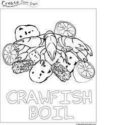 Crawfish boil coloring page- free download gives the kids something to do when they get tired of running around in the yard:)
